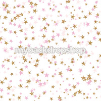 Pink and Gold Glitter Stars Photography Backdrop - Light Pink Star Photo Prop - Item 3183
