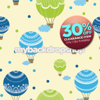 CLEARANCE - VINYL - 6ft x 6ft Backdrop for Newborn Pictures - Hot Air Balloon Wallpaper - Vinyl - Item 815