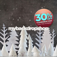 CLEARANCE - VINYL - 6ft x 6ft Snow Christmas Tree Photography Backdrop - Winter Tree Backdrop - Vinyl Christmas Drop - Exclusive Design - Item 2151
