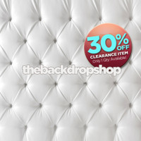 CLEARANCE - VINYL - 8ft x 8ft Upholstered White Tufted Fabric Photography Backdrop – White Headboard Bed Fabric Photography Backdrop - Vinyl - Item 1847