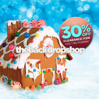 CLEARANCE - VINYL - 5ft x 5ft Christmas Photography Backdrop – Gingerbread House Photo Backdrop – Item 1762