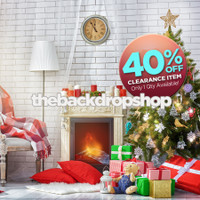 CLEARANCE - VINYL - 8ft x 8ft Christmas Tree Fireplace Photography Backdrop - Holiday Scenic Backdrop - Christmas Drop - Exclusive Design - Item 3029