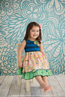 Blue Birds and Flowers Backdrop for Photos - Studio Photography Back Drop - Item 167