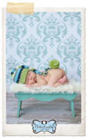 Infant Blue Damask Backdrop - Item 172
