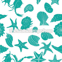 Nautical Shells, Seahorse Portrait Background - Photography Backdrop for Family Beach Pictures - Indoor or Outdoor - Item 324
