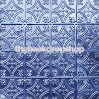 Tin Ceiling Photography Backdrop - Blue Tile Pattern Photo Background - Item 342