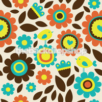 Fun retro Floral Photography backdrop - Item 749