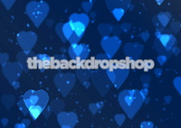 Blue Bokeh Backdrop for Photographers - Heart Photo Background -  - Item 850