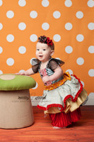 Orange Photography Backdrop - Kids Photoshoot Prop - Polka Dot Pattern -  Photo Background - Item 947