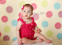 Pink and Green Polka Dot Childrens Photography Backdrop - Item 966