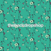 Pretty Turquoise Floral Photo Background  - Item 978