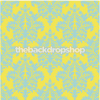 Yellow and Light Blue Damask Wallpaper Photo Background  - Item 1027
