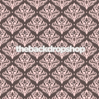 Brown and Pink  Damask Wallpaper Backdrop - Item 1059