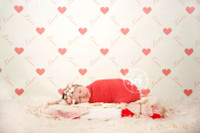 Baby Girl Photography Background - Heart Print Wallpaper Photo Backdrop - Item 1250