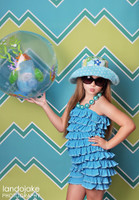 Funky Blue and Green Chevron Pattern  Backdrop - Item 1270