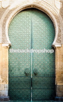 Church Door Photo Backdrop - Wedding Photography Backdrop - Turquoise Blue Door - Item 1538