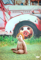 Old Car Photography Backdrop - Antique Red Fire Truck and Barn Photo Backdrop - Item 1630