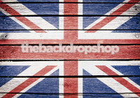 UK Union Jack Flag of the United Kingdom Painted on Wood Photography Backdrop - British Union Flag - Item 1642