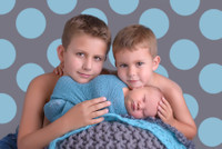 Gray and Aqua Blue  Large Dot Photography Backdrop - Boys Photo Backdrop - Item 1745