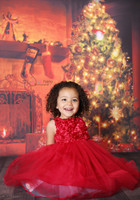 Christmas Tree and Fireplace Photo Backdrop - Holiday Photography Backdrop - Item 1779