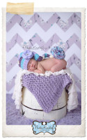 Shabby Lavender Floral Chevron Backdrop - Item 1991