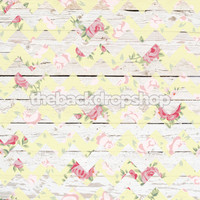 Yellow Floral Chevron Wood Photography Backdrop  - Item 1999