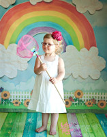 Kid's Painted Watercolor Rainbow Photography Backdrop - Blue Sky Flowers and Fence Backdrop - Exclusive Design! - Item 2089
