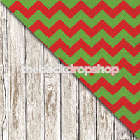 Faded White Wood Floor / Red and Green Chevron - Item 1371 & 1797