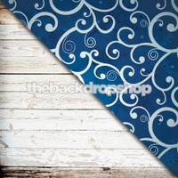 Weathered White Wood / Blue Swirl Snowflake- Item 1754 & 1763