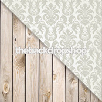 Gray Damask / Weathered White Wood Plank Floor - Items 626 & 157