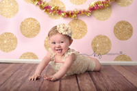 Pink and Gold Glitter Dot Backdrop - Exclusive Design - Item 2131