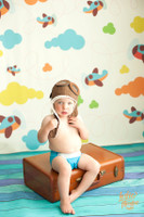 Blue Wood Floor Backdrop - Boys Photo Prop Drop - Painted Wood Floordrop - Item 513