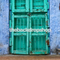 Vinyl or Poly Photography Backdrop - Old Distressed Turquoise Door on Blue Wall - Item 1476