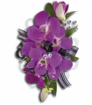 "Purple dendrobium orchids and Italian ruscus rhinestones on a snap bracelet, we coordinate the ribbons with your dress. Approximately 4"" W x 6 3/4"" H"
