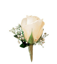 For the traditionalist, one white rose adorned with a sprig of baby's breath and green ivy.