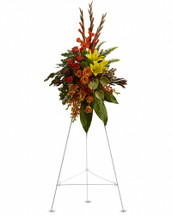 A graceful modern funeral spray of warm colors, it includes flowers such as anthuriums, roses and tropical greenery. Presented as a standing easel display. This standing spray on a wire easel includes tropical flowers such as orange orchids, roses and red gladioli. It also may include asiatic lilies, anthuriums, tropical ferns and leaves. Orientation: One-Sided