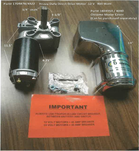 Heavy Duty Direct-Drive Motor - 12 Volt, 900 Watt (20-4422/1704878)