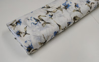 Cream and cornflower blue corsage 100% cotton with cut spot 147 cm wide - take care if using iron on dots due to the uneven surface - priced per metre