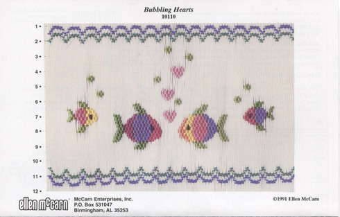 Bubbling Hearts with fish Smocking plate by Ellen McCarn