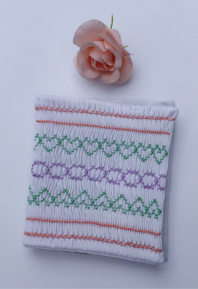 Ready to smock needle case kit - includes pre-pleated fabric, threads, needle and full step by step instruction for the smocking stitches and making up