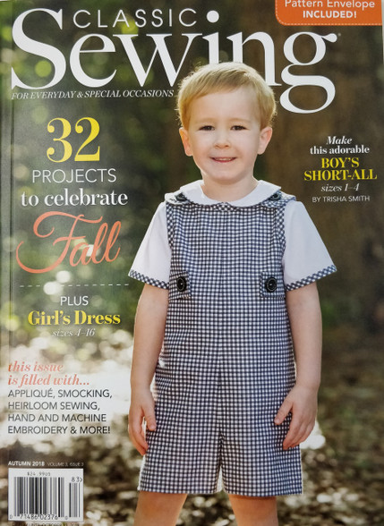 Classic Sewing Magazine Autumn 2018 full of smocked dresses, heirloom sewing and much more