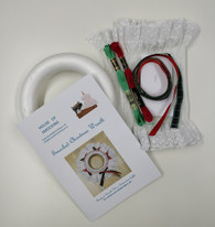 """Smocked 7"""" Christmas Wreath Kit - contains pre-pleated fabric, polystyrene ring, thread, crewel needle and  ribbon"""