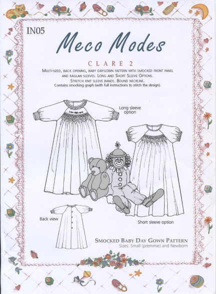 Claire 2 Preemie smocked gown by Meco Modes