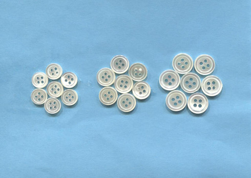 Real Shell buttons available in size 14, 16 or 18 - more stock due soon.