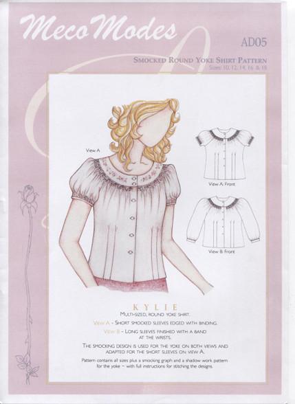 Kylie Smocked Round Yoke Ladies Shirt Pattern by Meco Modes