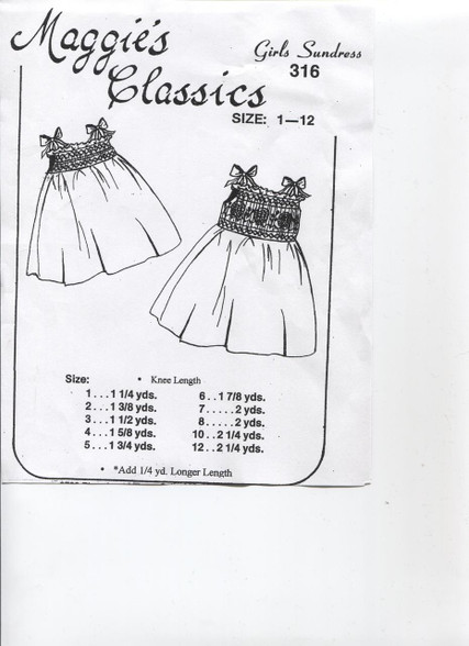 Smocked Sundress by Maggie's Classics size 1-12 - also available as a kit please contact