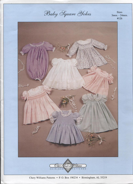 Baby Square Yoke Smocked Dress Pattern by Chery Williams - shortly available as a kit