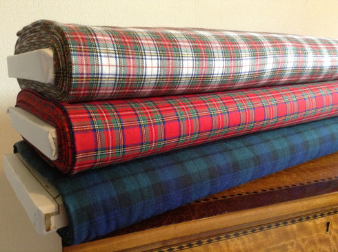 100% Brushed Cotton in Blackwatch, Royal Stewart and  Victoria Tartan 147 cm wide