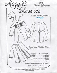 Smocked Coat & Bonnet Pattern 355 by Maggie's Classics for Sizes 1,2 & 3 years