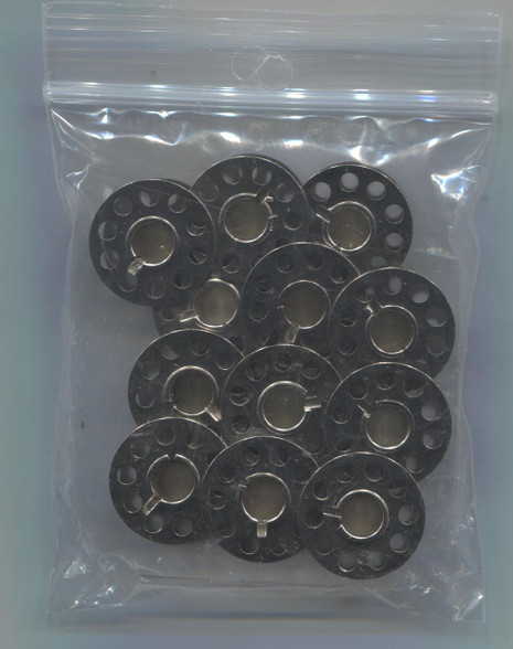 Metal Bobbins in packs of 12 ideal for use with the Smocking Pleater feeder